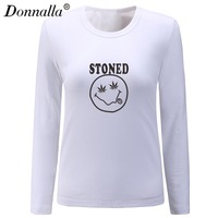 Donnalla Women T Shirts STONED Letter Printed Long Sleeve O Neck Tees Tops Autumn Spring Female