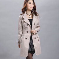 2016 New Autum Winter Women Pocket Slim Fit Turn Down Collar Double Breasted Trench Coat Elegant