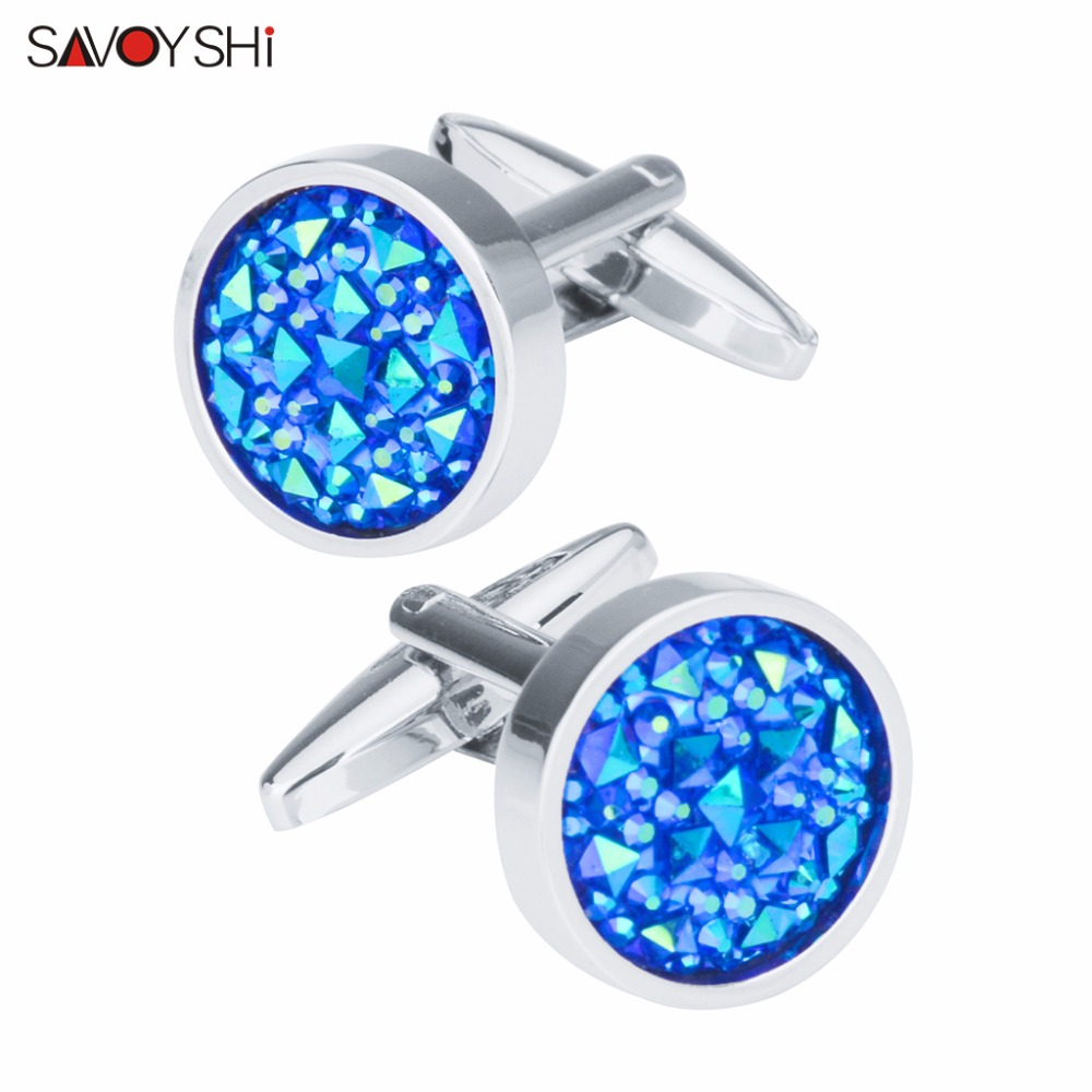 SAVOYSHI Fashion Blue Crystal Cufflinks For Mens Shirt Accessories High Quality Brand Round Cuff Buttons Wedding Gift Jewelry