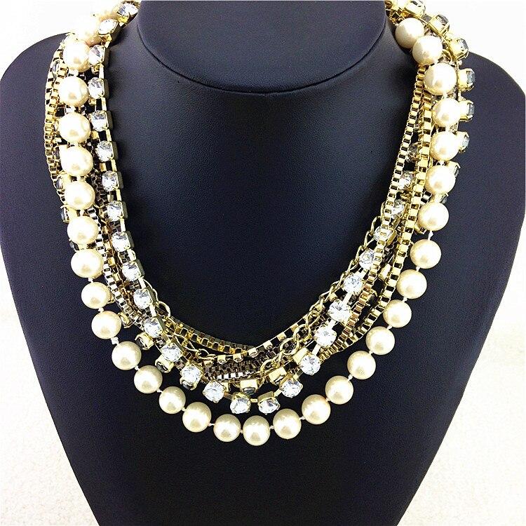 809516f03586 Precioso brillante noble simulado perla declaración collar precio de  fábrica Collares y colgantes Venta caliente de las mujeres de moda collar