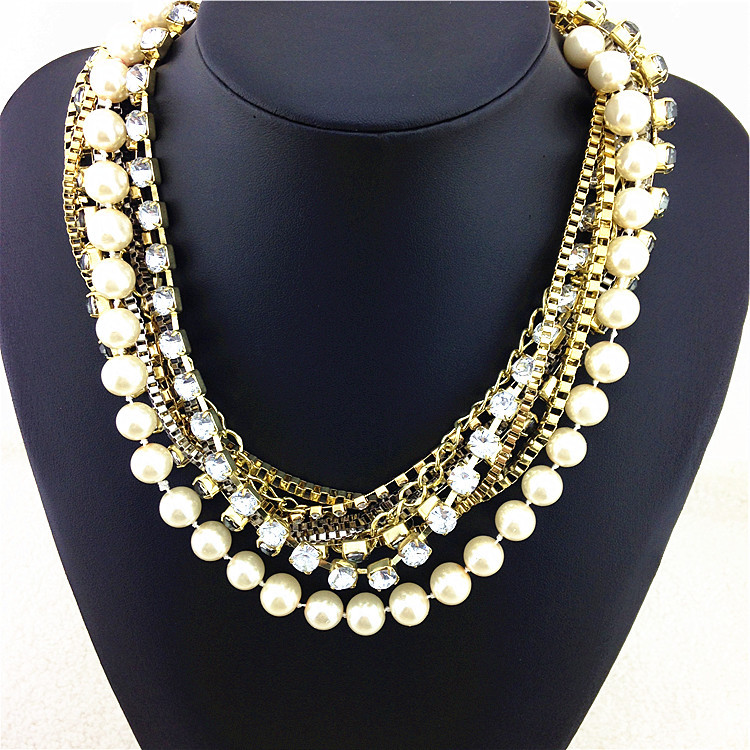 Precious Shining Noble Simulated Pearl Statement Necklace Factory Price Necklaces & Pendants Hot Sale Women Fashion Necklace