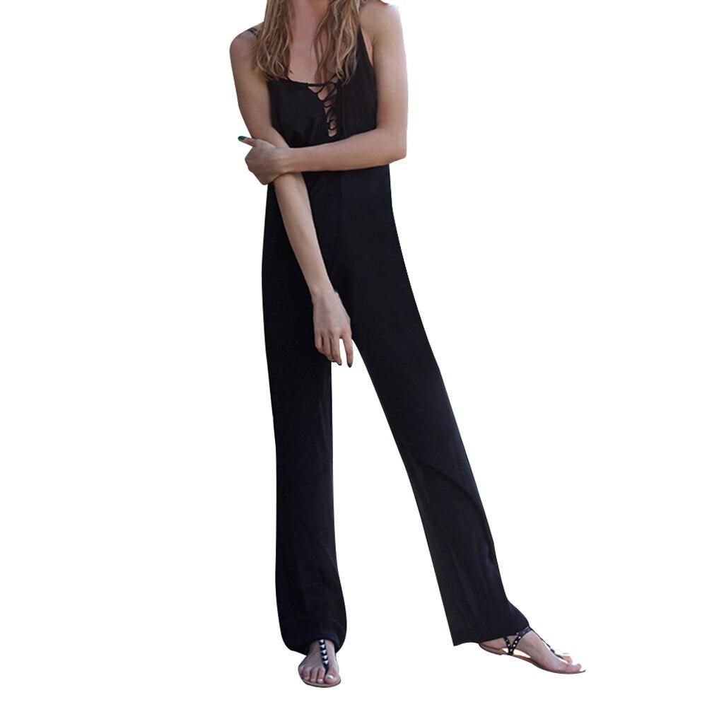 2018 New Women Jumpsuits Sexy Backless Sleeveless Jumpsuit Bandage Bodysuits One Piece Suit Long Pants #121