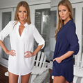 Super personality Women Summer casual clothings Loose Shirt Sexy V-Neck three quarter Sleeve Blouses White Blue 4Size