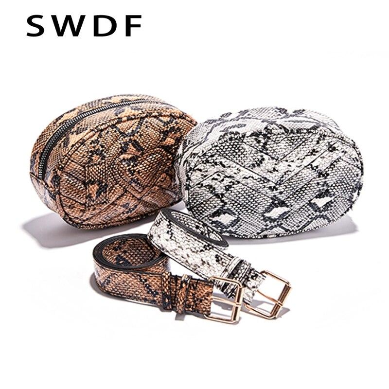 SWDF Belt Bag Waist Bag Round Fanny Pack Women Luxury Brand Leather Handbag Snake 2019 Summer High Quality Drop Shipping