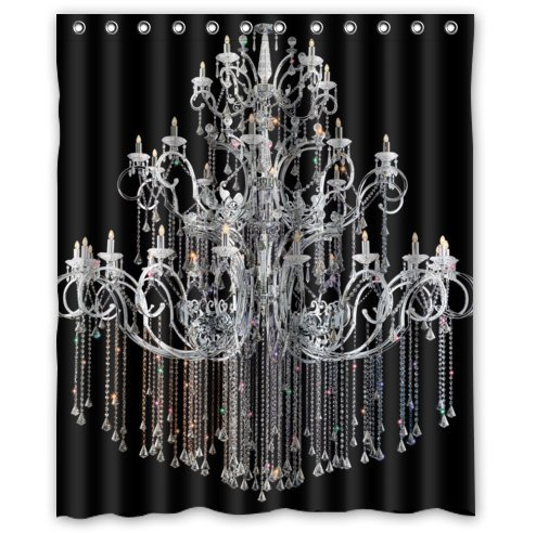 60(w) x 72(L) Custom classical Chandeliers black Bathroom Waterproof Polyester Fabric Shower Curtain