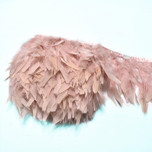 2Meter/lot fluffy Leather powder Turkey feathers trim fringe 10-15cm DIY colored feather ribbon carnival Clothing dress plumes