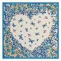 2017 Novo amor borboleta impressão sarja de seda quadrado pequeno Lenço para crianças tubo pescoço feminino lenços hijab Muçulmano 60 cm A080
