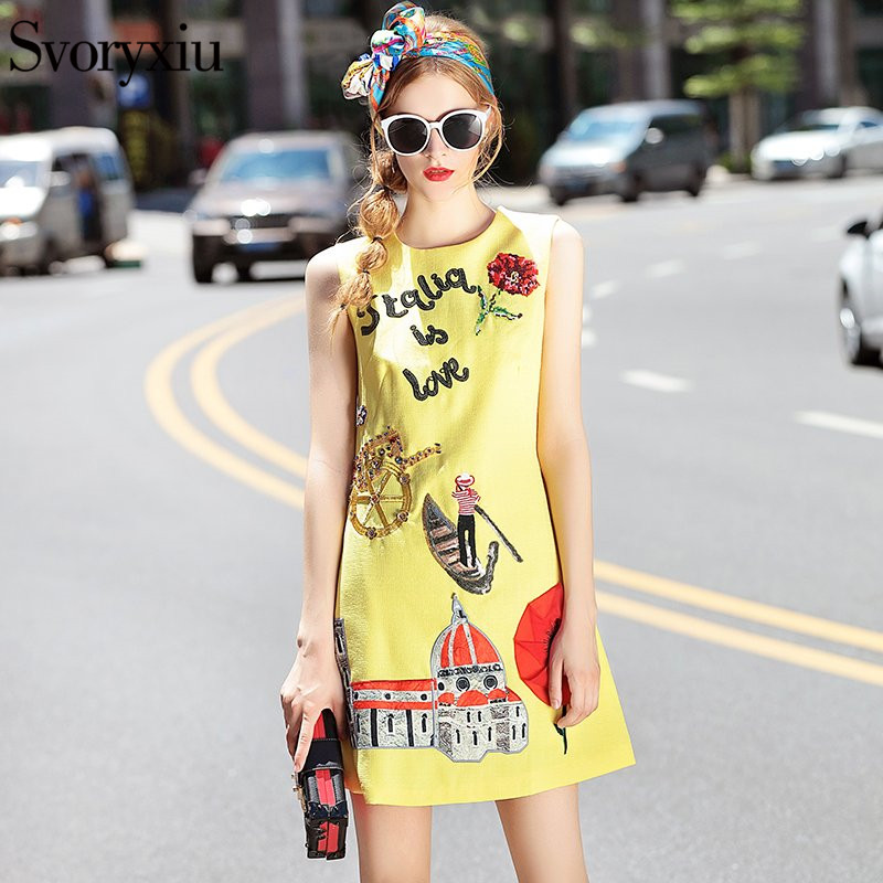 2017 Runway Designer New Summer Tank Dress Women's High Quality O Neck Appliques Diamonds Embroidery Yellow Mini Dress