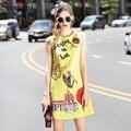 2017 runway designer tank dress del nuevo verano mujeres de la alta calidad o-cuello apliques de diamantes bordado amarillo mini dress