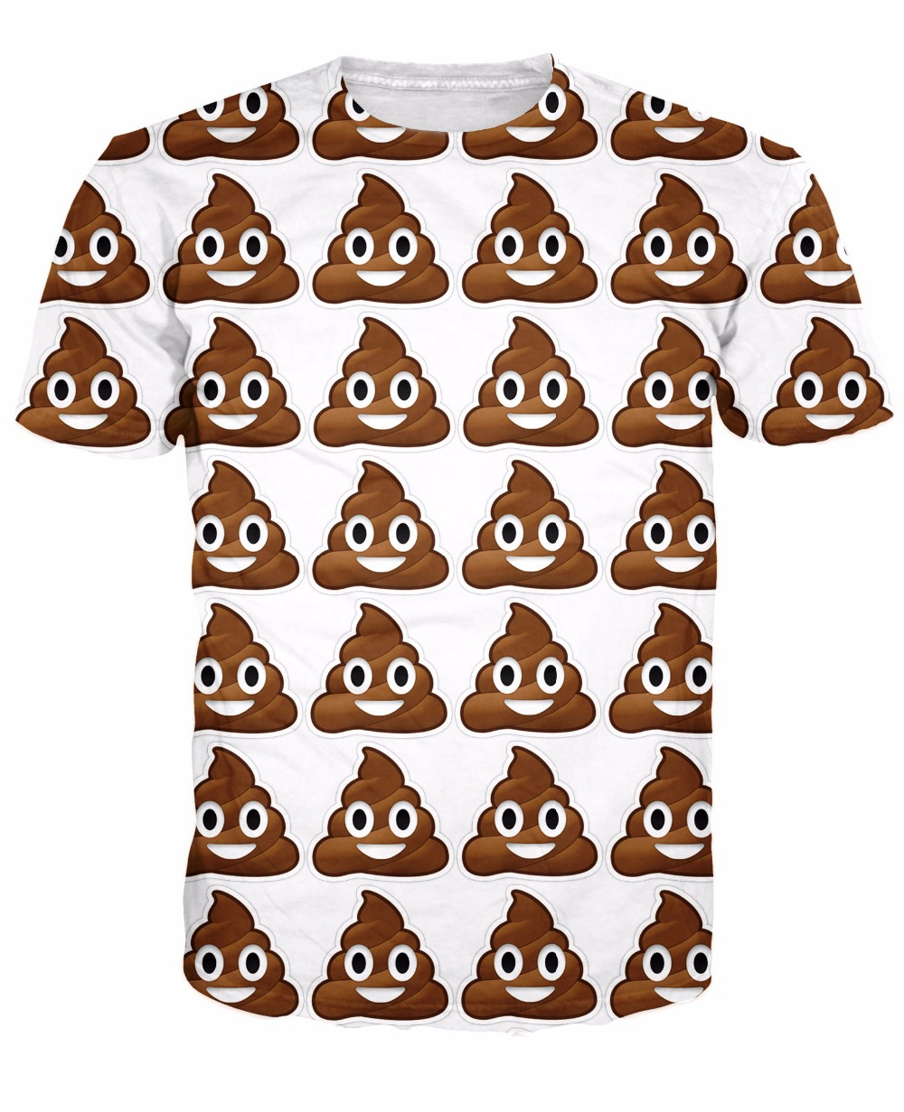 2018 new arrive Poop Emoji T-Shirt cute turd characters 3d print t shirt fashion clothing tops Summer Style tee for women men
