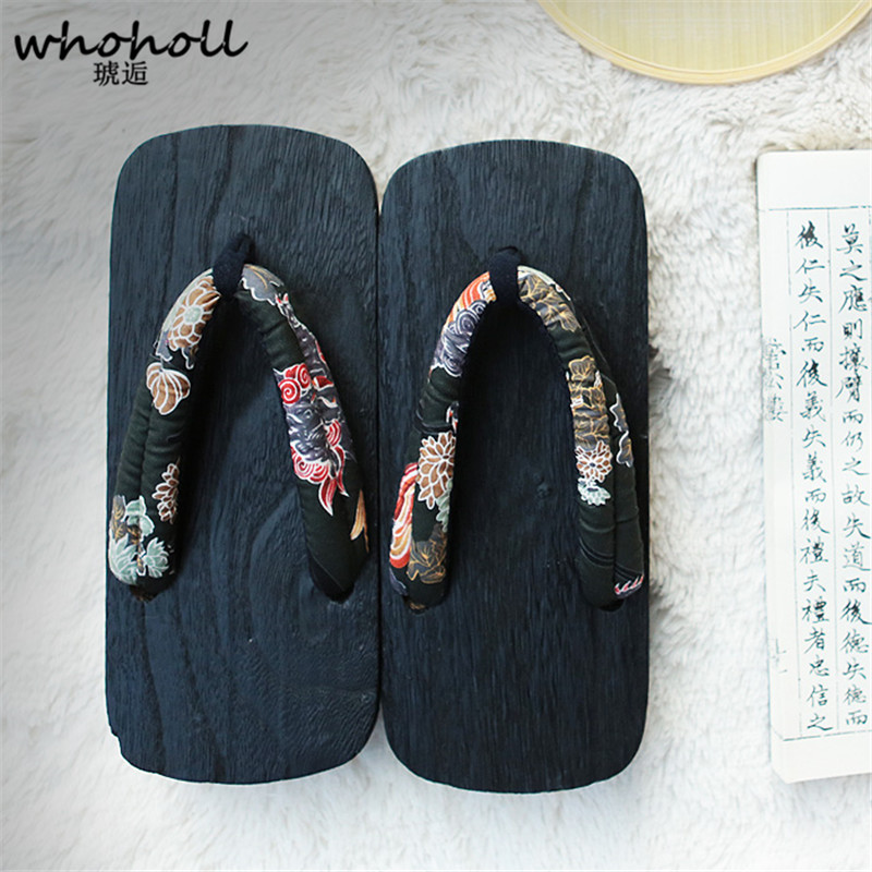 WHOHOLL Original Geta Man Women Japanese Kimono Clogs Cosplay Costumes Wooden Shoes Flip Flops Platform Two-teeth Slippers