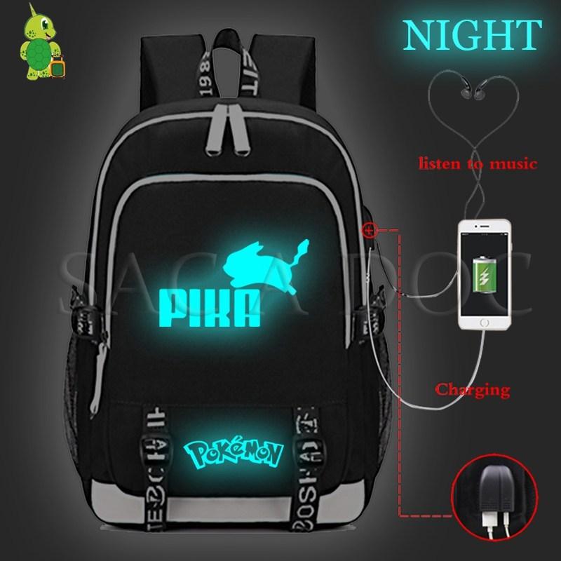 Pokemon Pikachu USB chargeur sac à dos pour ordinateur portable pour les adolescentes garçons Gengar Eevee sacs d'école multifonction décontracté voyage sac à dos