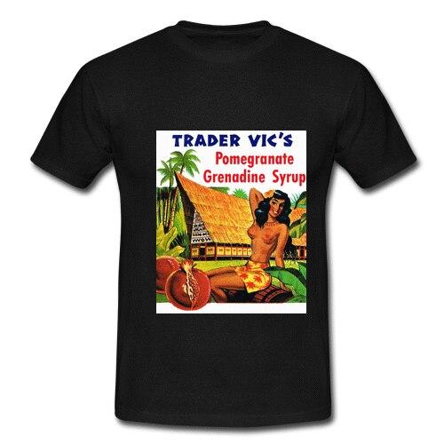 Mens Black Retro Vintage T-shirt Tee Trader Vics Hawaiian Hula Girl Hawaii Ad Summer Short Sleeves Cotton Fashion t Shirt