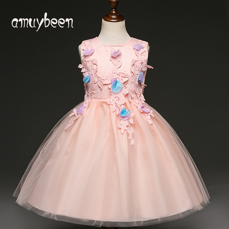 Girls Clothing Pink Ball Gown Summer Girls Dresses for Party and Wedding Princess Girl Dress Ceremony Bridesmaid Kids Costume ftlzz 2017 summer new girls snow white princess ball gown dress kids girls party cosplay dresses costume children girl clothing