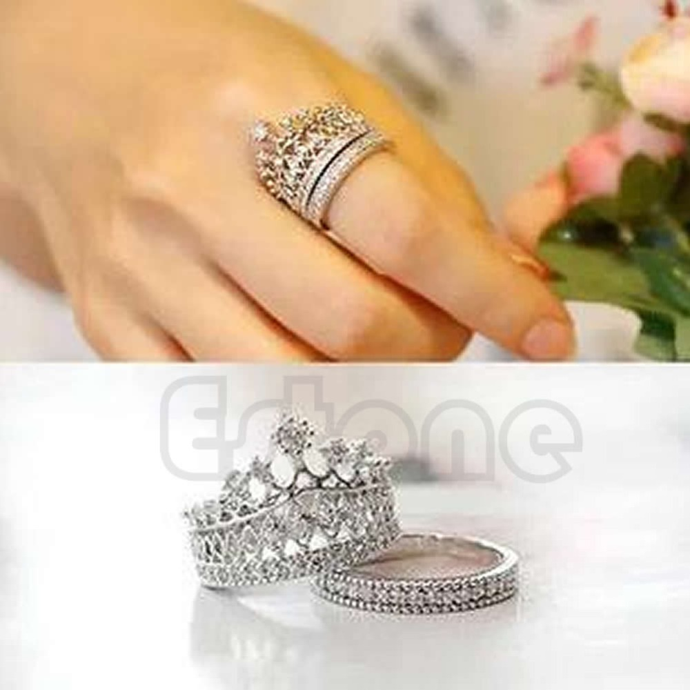 Retro Women White Gem Lady Silver Crown Wedding Band Ring Set Size 5-8 T52
