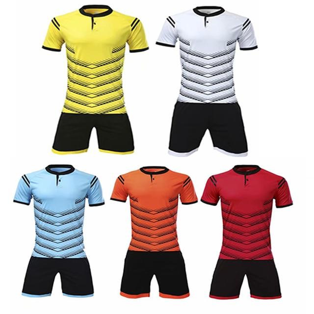 YINGRU New black color stripe soccer jerseys 2018 Men soccer sets polyester  quality soccer football uniforms pant with pocket adf6b22d5