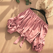 Neploe Slash Neck Off Shoulder Solid Shirts 2018 Summer New Bow Korean Short Women Blouses Tops Fashion Chiffon Blusas 68093