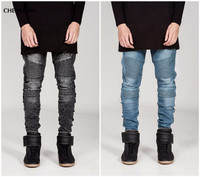 Mens Skinny Jeans Men Runway Distressed Slim Elastic Jeans Denim Biker Jeans Hip Hop Pants Acid