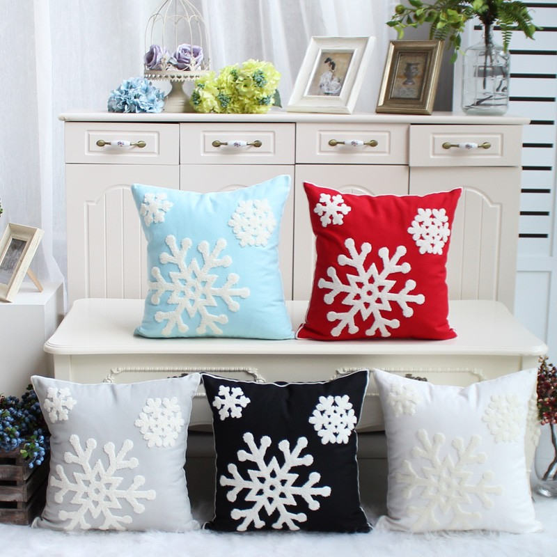 Snowflake Pillow Case 100% Cotton Embroidery Christmas Cushion Cover Decorative Sofa Home Decor Pillowcase Bed Car Cushion Cover