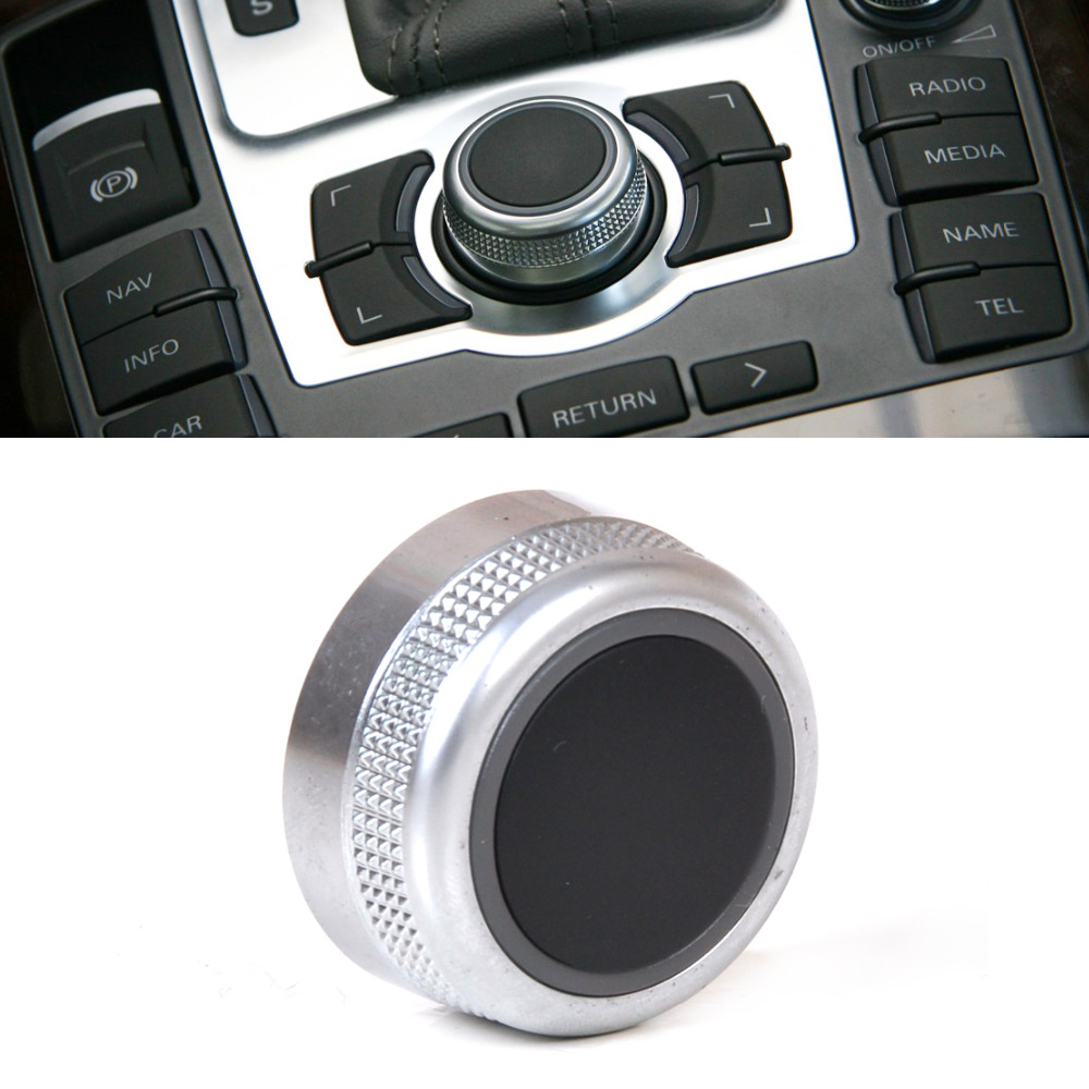 beler 1pc silver chrome multimedia mmi main menu control rotary switch knob cap cover for audi a6 a8 s6 s8 q7 rs6 4f0919069 [ 1000 x 1000 Pixel ]