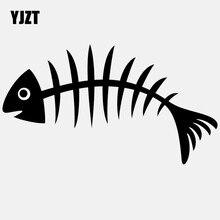 YJZT 16CM * 8.9CM çıkartması araba Sticker sanat vinil Transfer balık kemik siyah/gümüş C24-0449