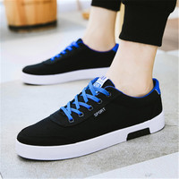 Mens Vulcanize Shoes 2019 New Fashion Comfortable Breathable Canvas Shoes Lace Up Flat Loafers Shoes Spring Summer Shoes 39 44