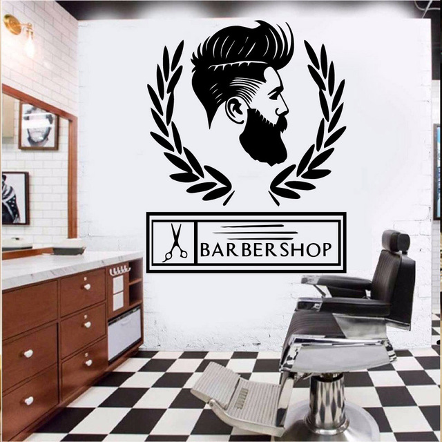 Custom Barber Decor Decoration Vinyl Wall Stickers Wallpaper Accessories Removable Mural