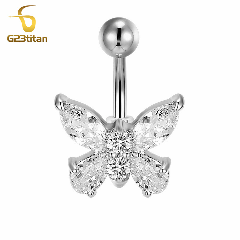 G23titan Hypoallergenic Piercing for Navel Crystal Butterfly Titanium Bar Belly Piercing Dangle Body Jewelry