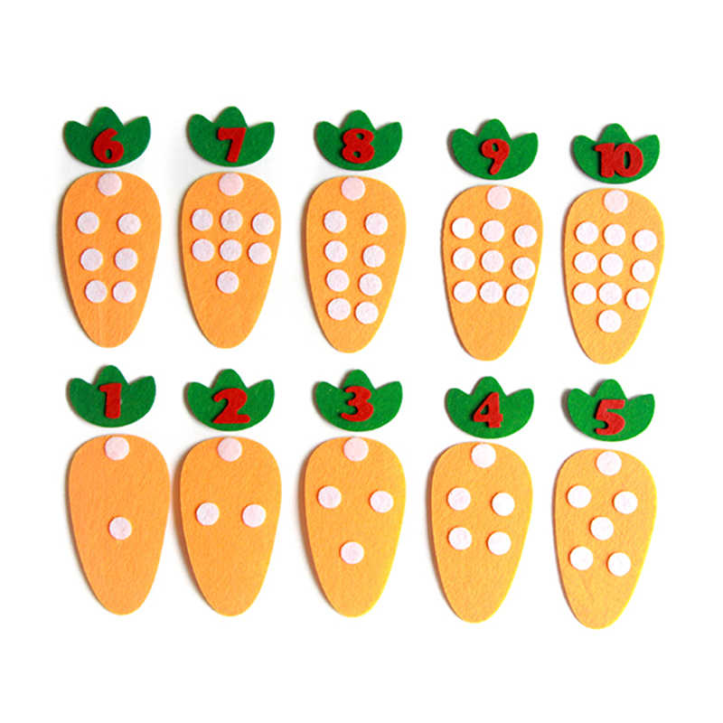 Kawaii Carrot Points Number Matching Game Kindergarten Montessori Teaching Aids Preschool Kids Learning Education Material Toy