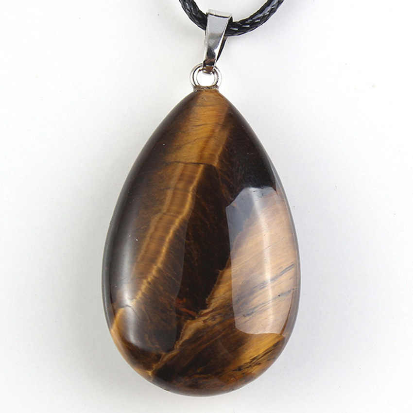 Trendy-beads Summer Style Silver Plated Natural Tiger Eye Stone Water Drop Modern Pendants Charms Jewelry