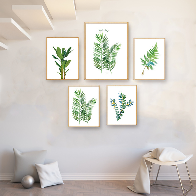Tropical Plants Palm Leaf Green Art Canvas Poster Modern Minimalist Living Room Wall Home Decor Painting No Frame Free Shipping