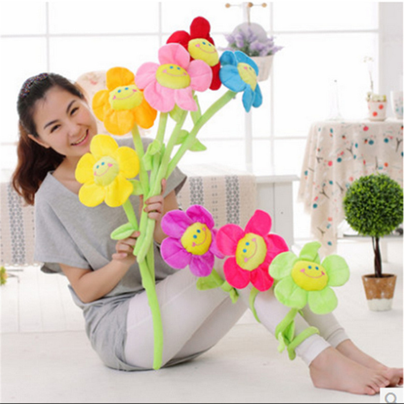 Bread Plush Cartoon Simulation Sun Flower Rose Flower Plush Toys For Children For Home Decoration PP Cotton Plant Plush Toy