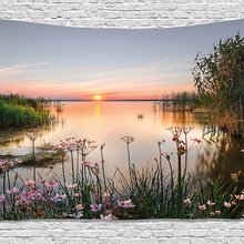 Природа Гобелен закат на Чудском озере с видом на Украину весенние цветы пейзаж фото настенный для спальни гостиной общежития