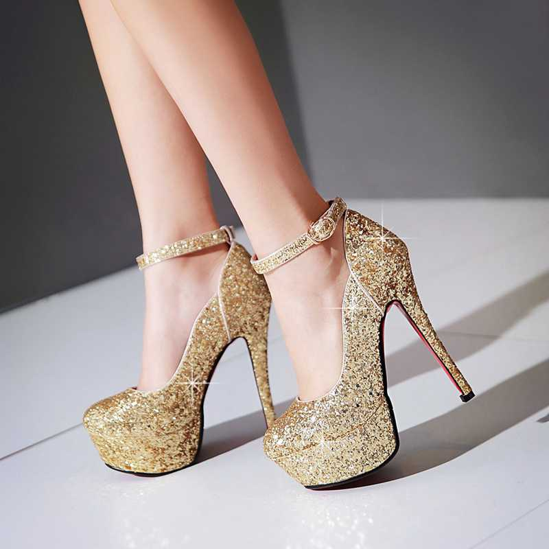 Shoes Size34 15 2017 Female Gold Pumps Heels Ps1563 High In Women's 43 Silver Women Us30 Single Platforms 42Off Wedding Glitter Autumn famso Y7byf6g