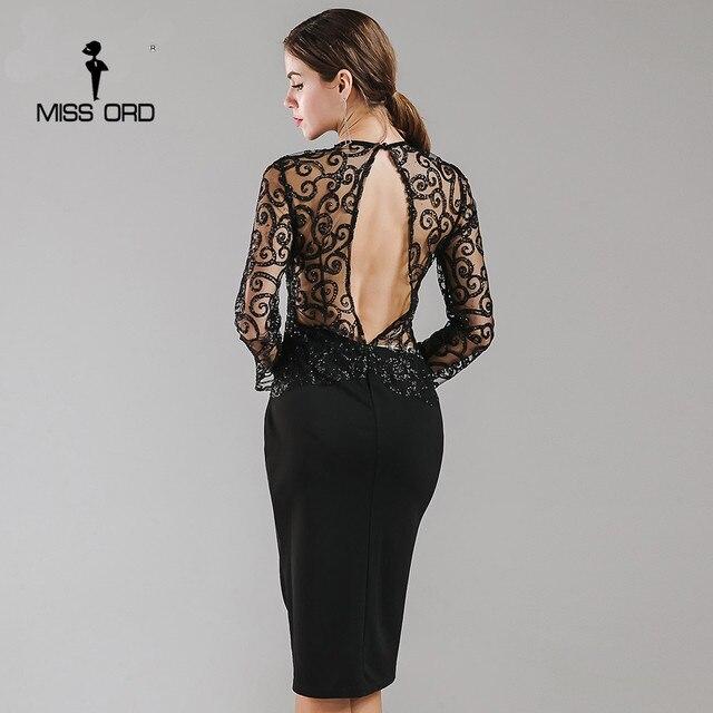 Missord 2017 Flash sexy halter à col haut à manches longues sequin robe FT4180