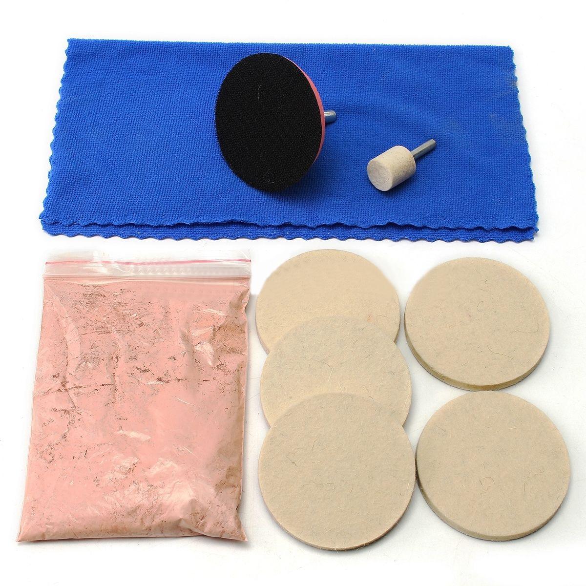OSSIEAO 100g Cerium Oxide Glass Polishing Kit Windscreen Scratch Remover + 3 Pad + Felt