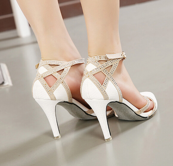 Y High Heel White Rhinestone Wedding Shoes Ankle Strap T Bar Las Party Dress In Women S Pumps From On Aliexpress Alibaba Group