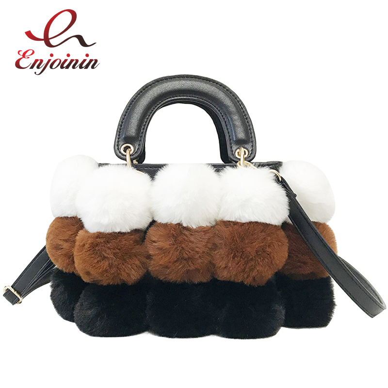 Luxury Faux Fur Color Ball Stitching Pu Leather Fashion Casual Women's Handbag Shoulder Bag Crossbody Messenger Bag Ladies Bolsa кресло для отдыха dondolo mebelvia