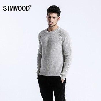 SIMWOOD Marka 2018 Jesień Zima Sweter Mężczyźni Bawełna Mody Przypadkowi Slim Fit Plus Rozmiar Dzianiny Swetry Darmowa Wysyłka 180376