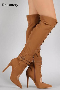 Free Shipping Women Fashion Pointed Toe Lace-up Suede Leather Gladiator Boots Cut-out Knee High Thin High Heel Boots