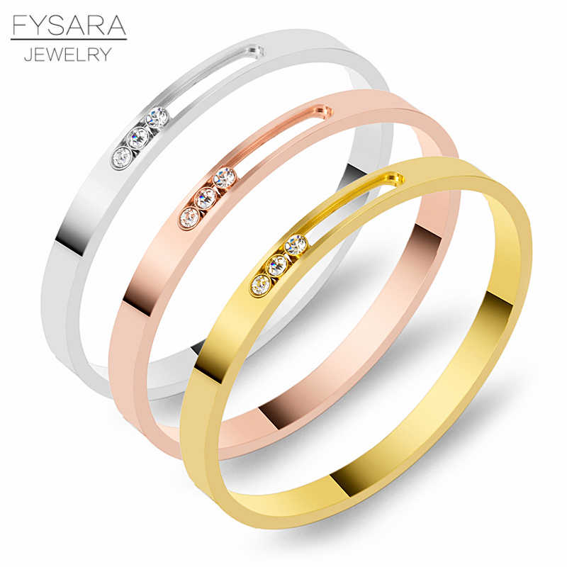 FYSARA Stainless Steel Women Bracelet Gold Bangle Crystal Rhinestones Sliding Luxury Wedding Party Wristband Jewelry Custom Logo