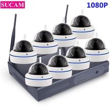 SUCAM Plug and Play 8CH 1080 P HD Беспроводной NVR комплект P2P Купол ИК Ночное Видение безопасности Камера Системы IP Камера WI-FI CCTV 1 ТБ HDD
