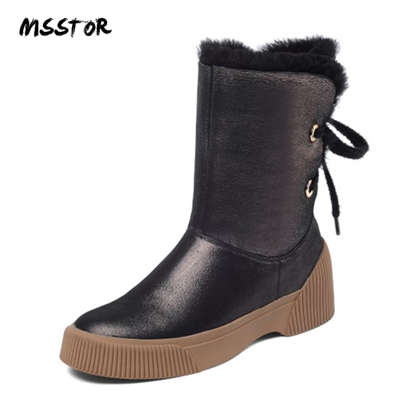 MSSTOR Rubber Flat Fur Boots Fashion Lace Up Gun Color Concise Casual Warm Snow Boots Women Round Toe Ankle Boots For Women 2CMMSSTOR Rubber Flat Fur Boots Fashion Lace Up Gun Color Concise Casual Warm Snow Boots Women Round Toe Ankle Boots For Women 2CM