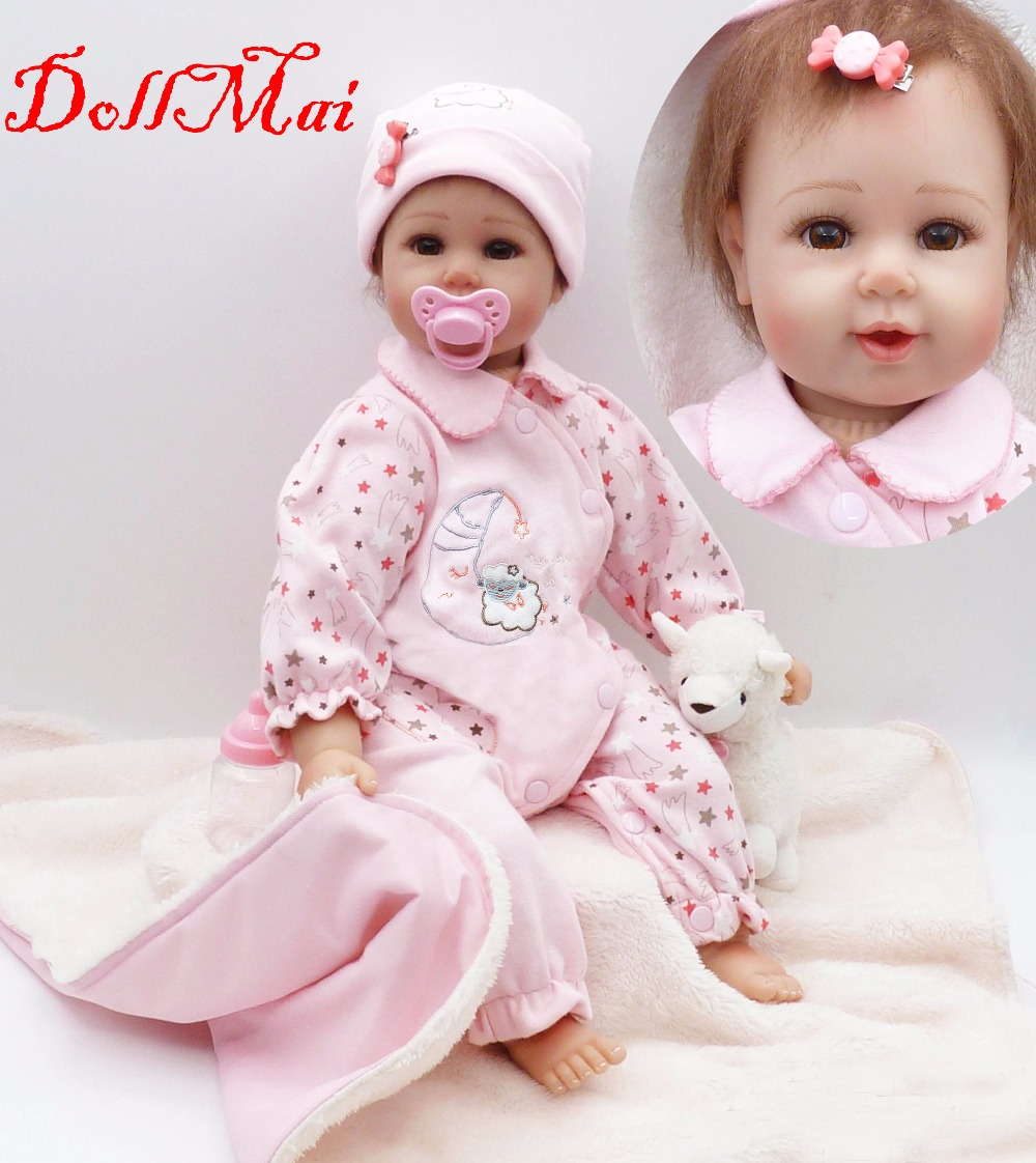 DollMai doll reborn 2050cm soft silicone reborn baby dolls children sleeping doll with quilt pacifier bottle bebe alive reborn