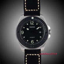 43mm Parnis black dial luminous marks Stainless steel Case sapphire glass miyota Automatic mens Watch