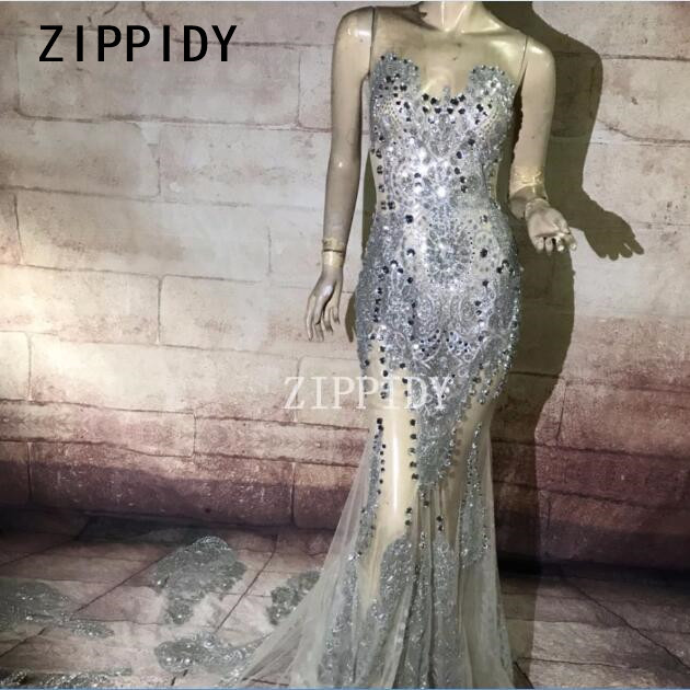 Bright Big Rhinestones Perspective Guaze Long Tail Dress Nightclub Stage Dance  Female Singer Show Women Birthday Prom Sexy Dress 3d3834c2b53a