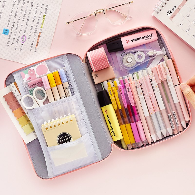 JIANWU 1Pc Korean Creative Stationery Bag For Girls And Boys High Capacity Pencil Bag Pencil Case School Office Supplies Kawaii