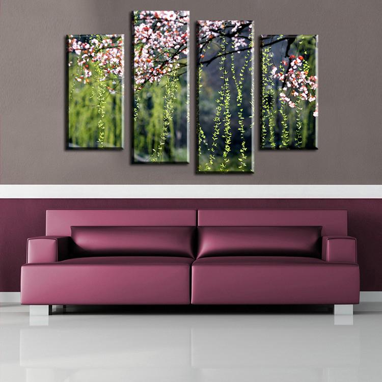 unids la flor del ciruelo y pintura impresin en lienzo de la pared de sauce