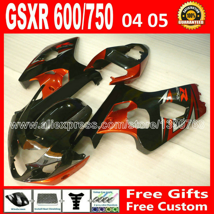 Hot sale for popular red black body 2004 2005 SUZUKI GSXR 600 750 fairing kit K4  gsxr600 SDX gsxr750 fairings kits 04 05 moto 4 lowest price fairing kit for suzuki gsxr 600 750 k4 2004 2005 blue black fairings set gsxr600 gsxr750 04 05 eg12
