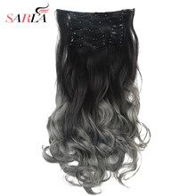 "Ombre Clip in Hair Extensions Bayalage 20"" 7pcs Head Curly Grey Hair Pieces For Women Synthetic Flase Brown Blonde Pink 99(China)"